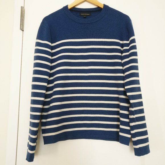 Banana Republic Sweaters Mens Blue White Striped Sweater Poshmark